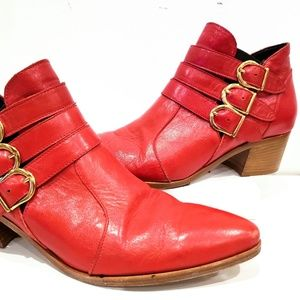 Modern Vice Chloe Heeled Red Leather Ankle Bootie